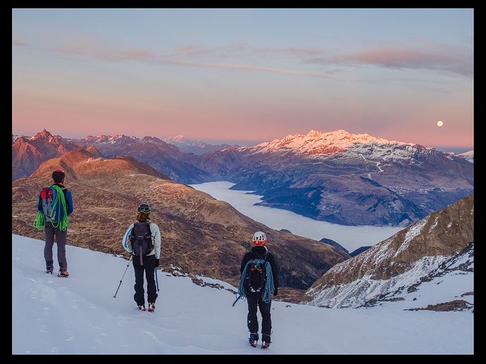 Alpenglow panorama with climbers_201129_165903