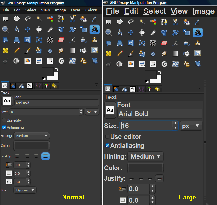 Characters of the interface too small - GIMP - discuss pixls us